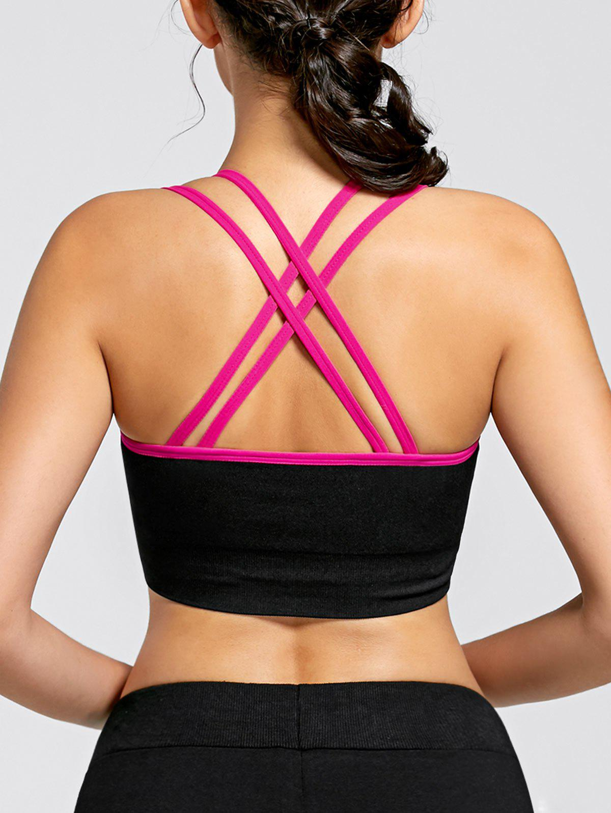 Padded Strappy Criss Cross Yoga Bra - TUTTI FRUTTI L