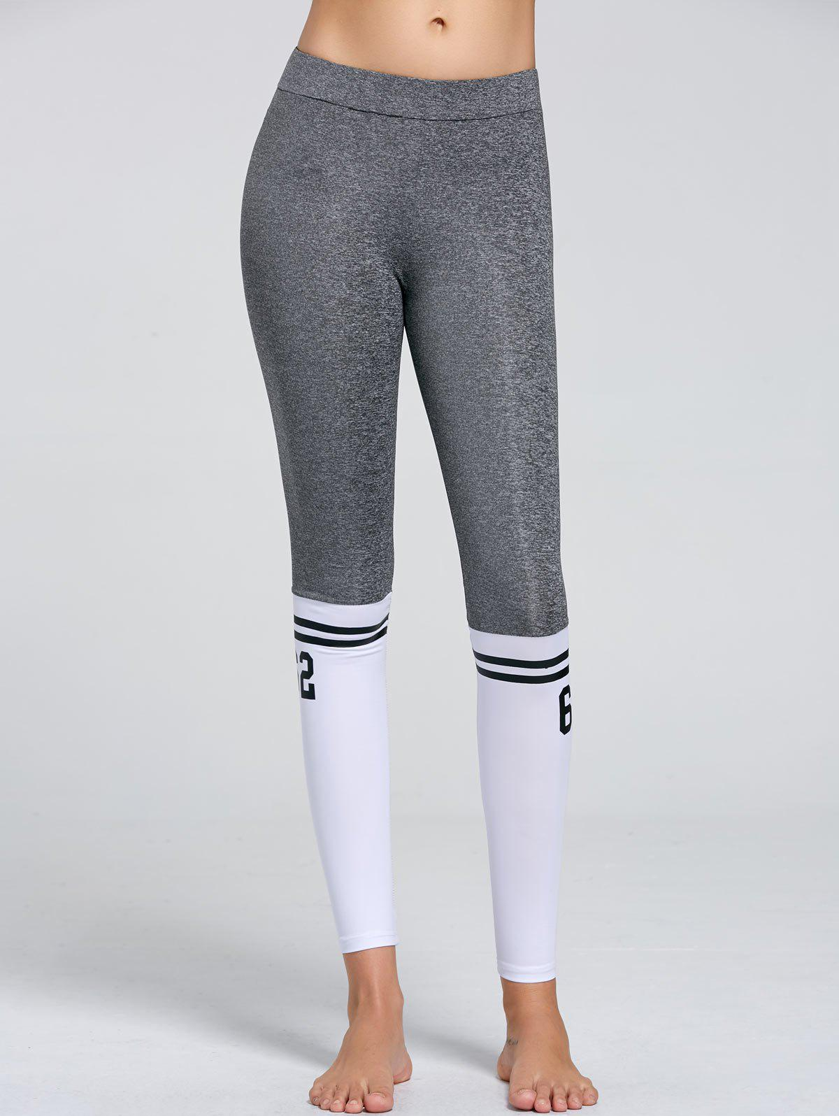 Numbers Contrast Yoga Tights - GRAY M