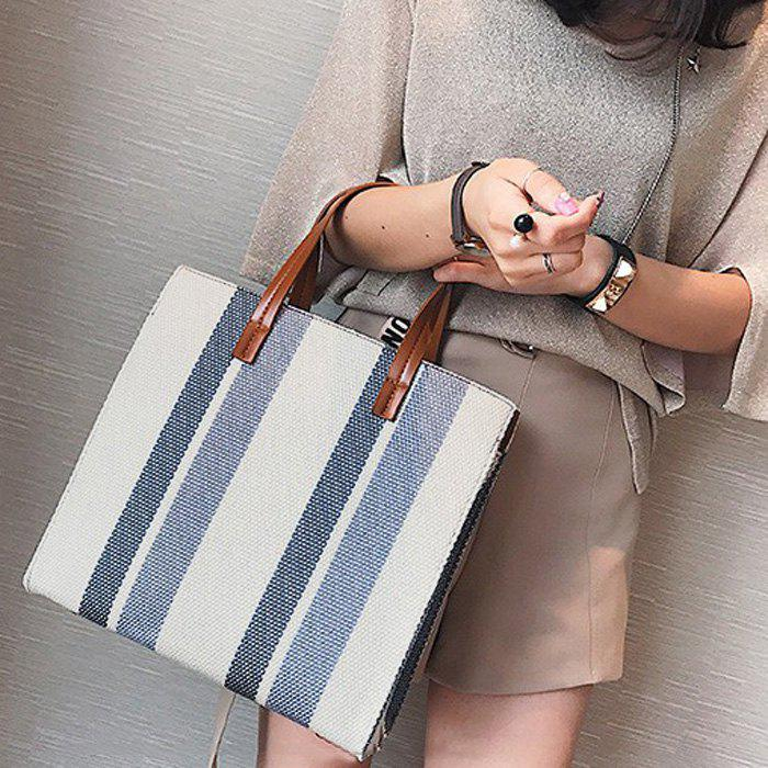 Striped Canvas Tote Bag - GRAY