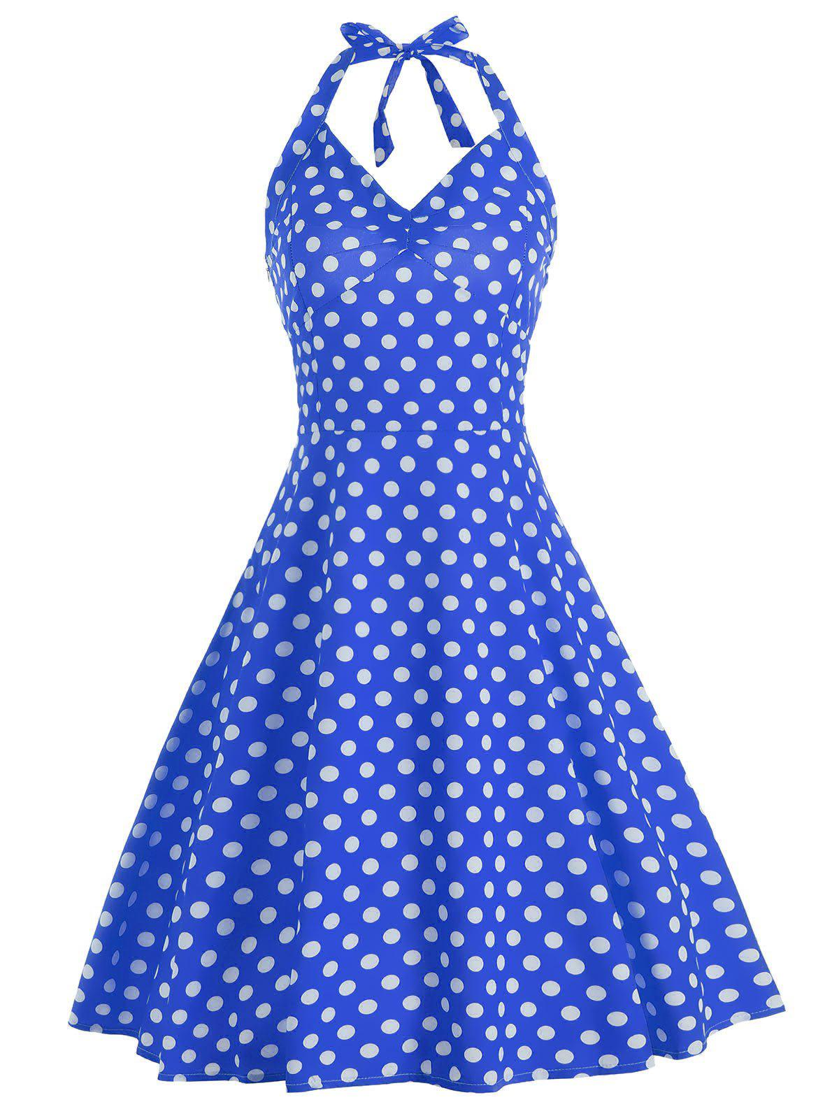 Polka Dot Lace Up Halter A Line Dress polka dot lace up halter a line dress