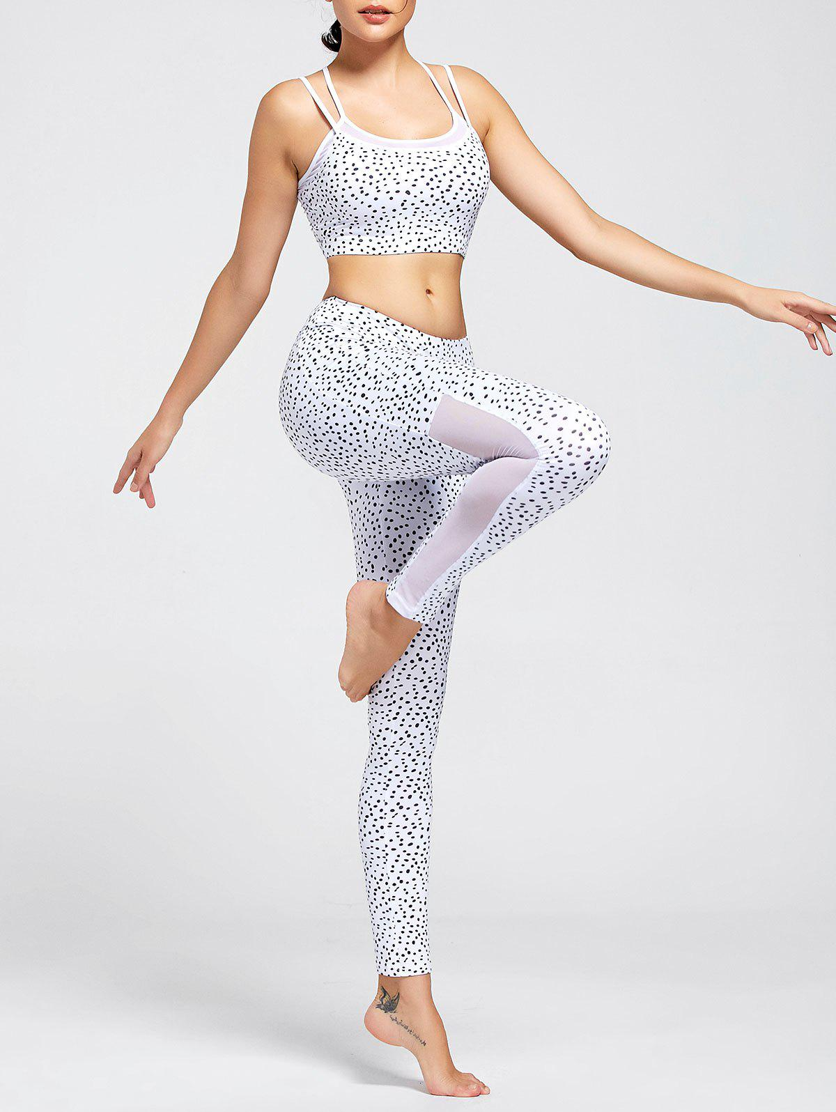 Printed Strappy Bra and Mesh Panel Workout Leggings - WHITE L
