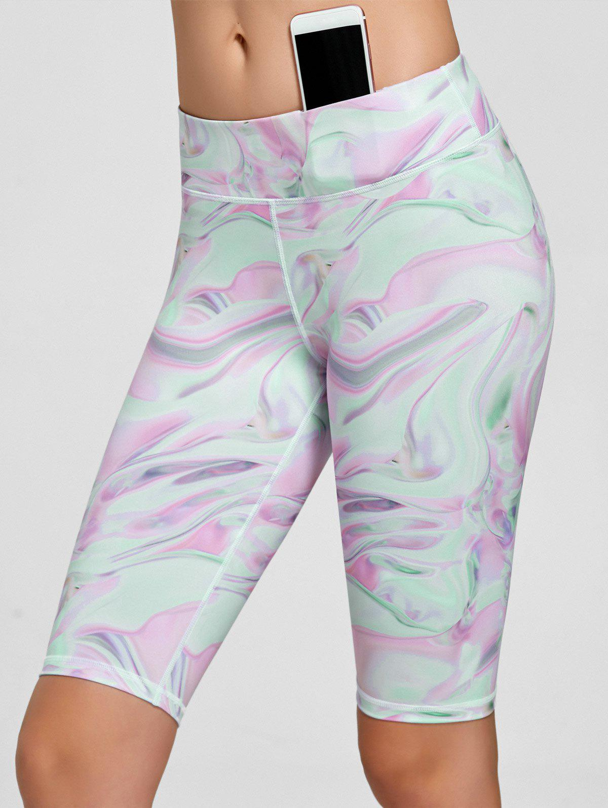 Fresh Pattern Running Tight Shorts - PINK M
