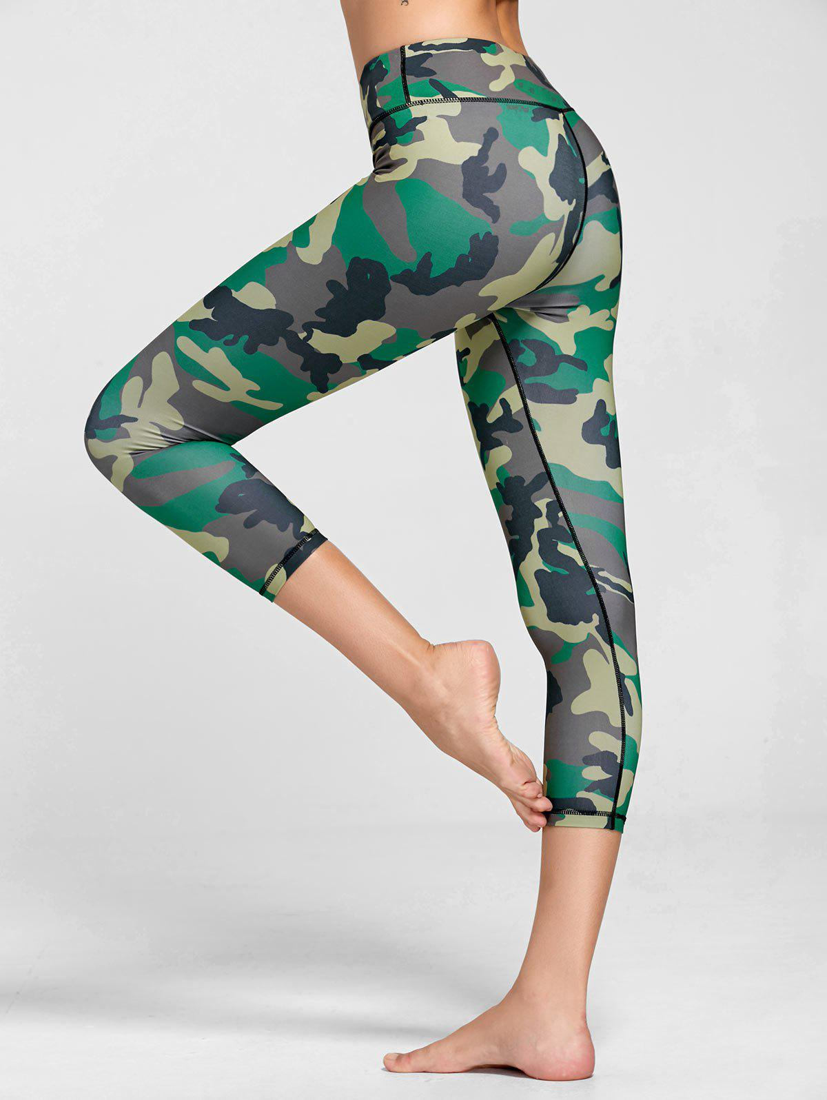 High Rise Camouflage Print Sports Leggings - GREEN S