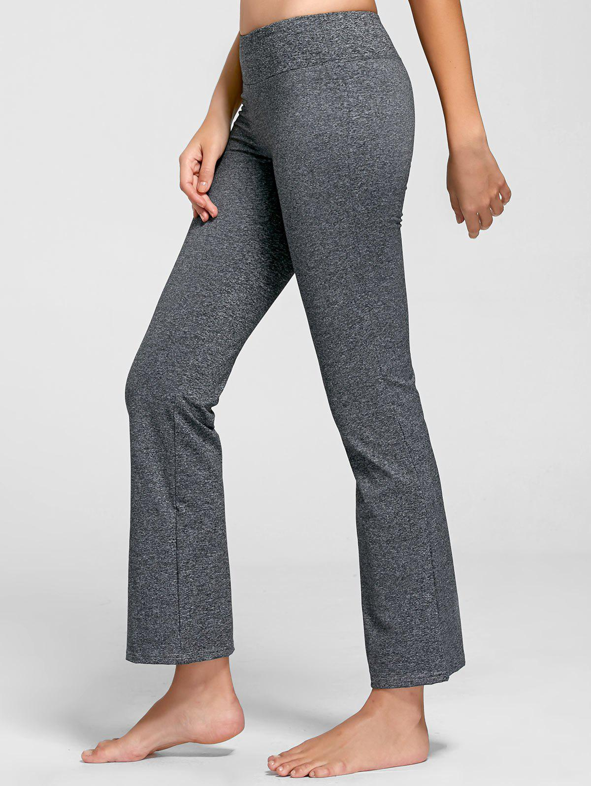 Marled Bell Bottom Yoga Pants - GRAY M