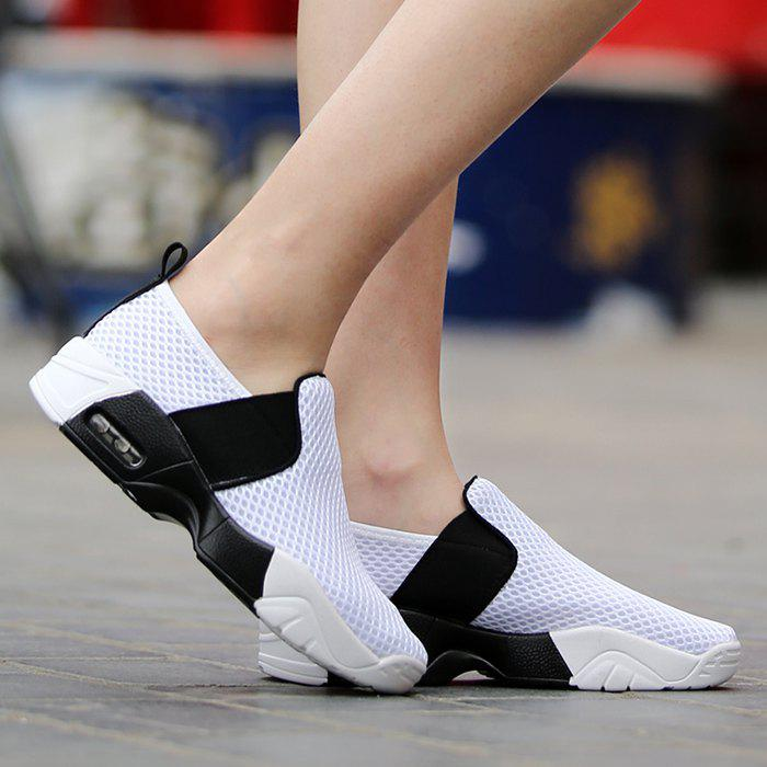 Elastic Band Breathable Mesh Athletic Shoes - WHITE 39