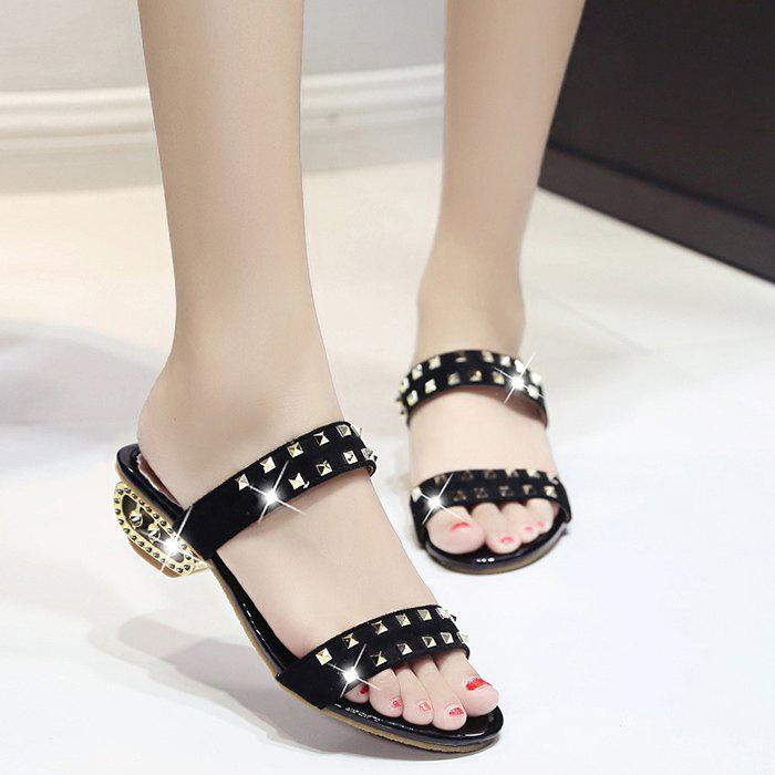 Chaussons style strass rude - Noir 40