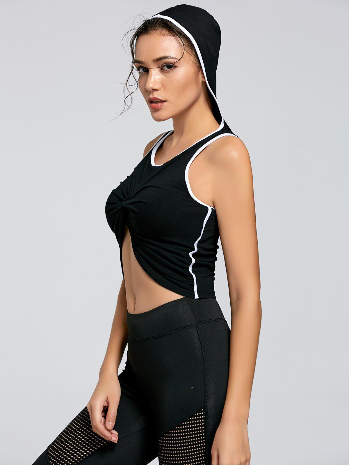 Active Contrast Knot Hooded Crop Top - BLACK L
