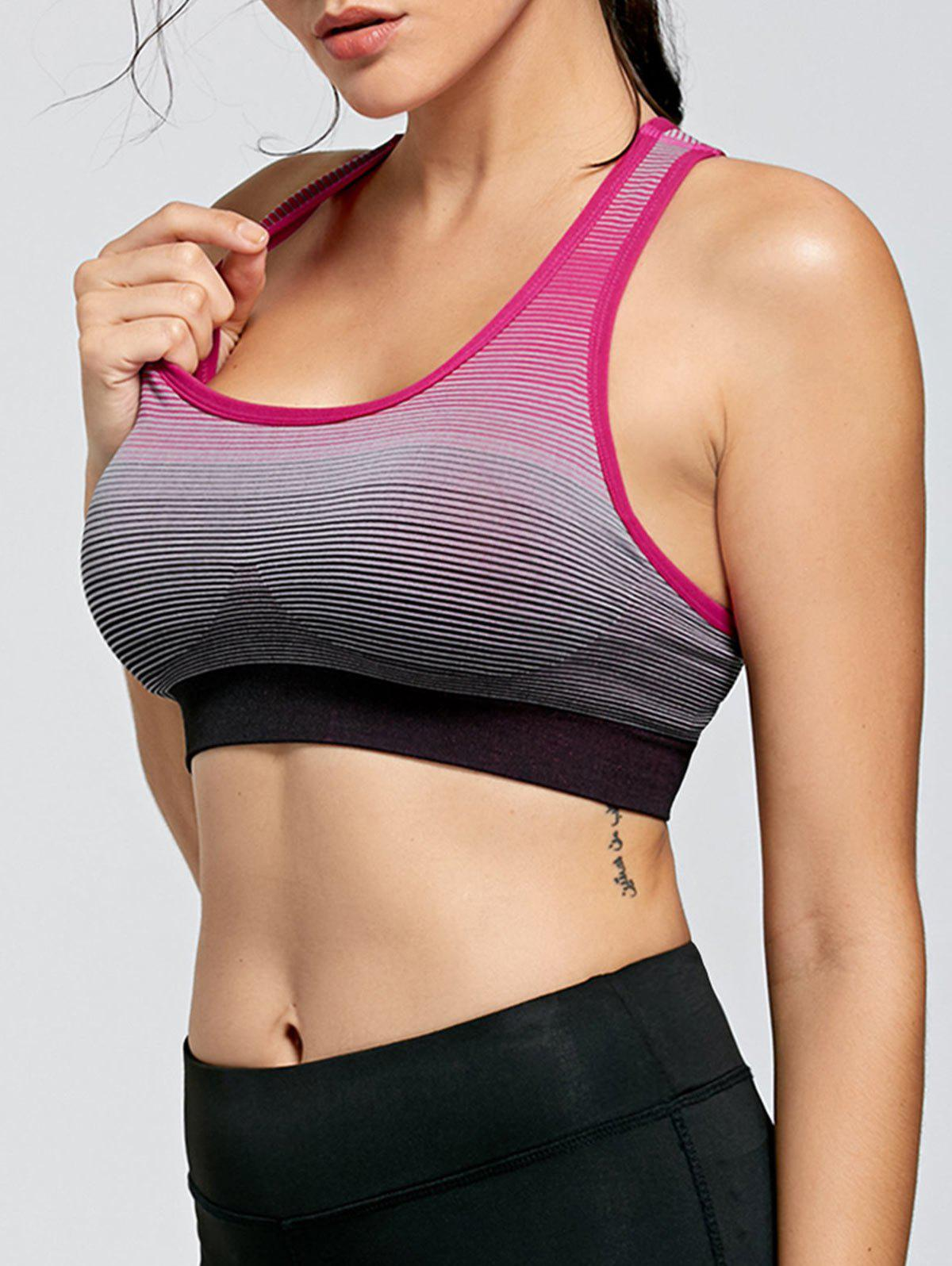 Stripe Ombre Padded Yoga Bra - WATERMELON RED L