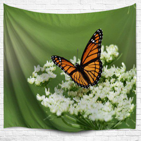 Papillon Floral Wall Hanging Home Decor Tapestry - Vert W59 INCH * L79 INCH
