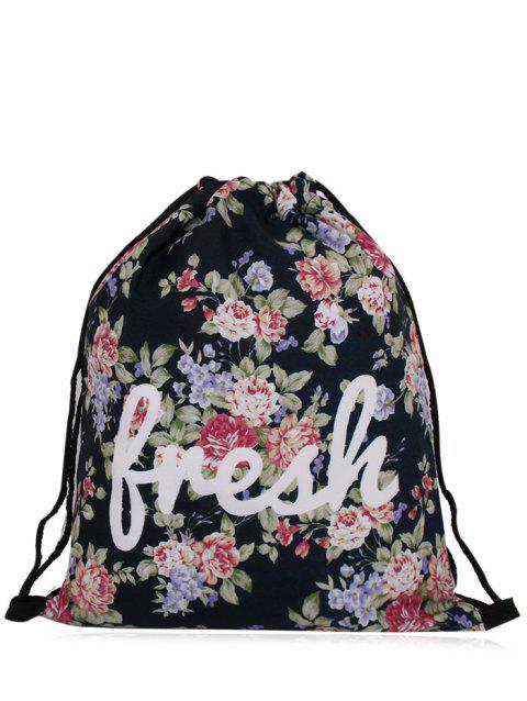 Printed Nylon Drawstring Bag - BLACK