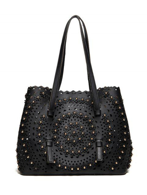 Hollow Out Rivet Shoulder Bag - BLACK