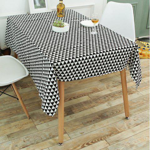 Geometry Print Linen Tablecloth Kitchen Dining Decor - BLACK WHITE W55 INCH * L78 INCH