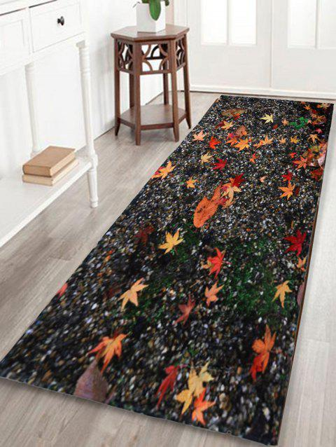 Non Slip Maple Leaf Sand Floor Area Rug Colormix W16 Inch L47