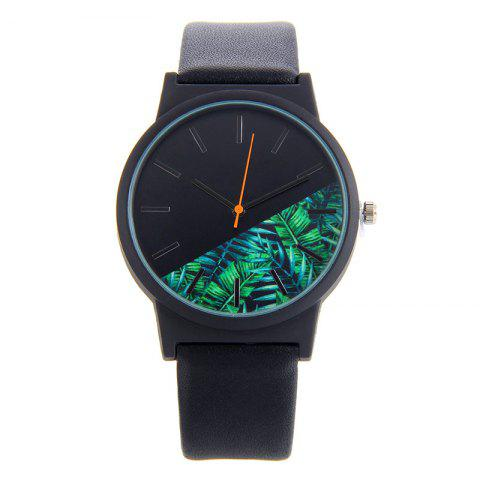 Faux Leather Tropical Leaf Face Watch - BLACK