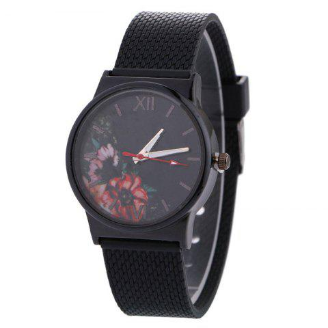 Floral Face Canvas Watch - BLACK