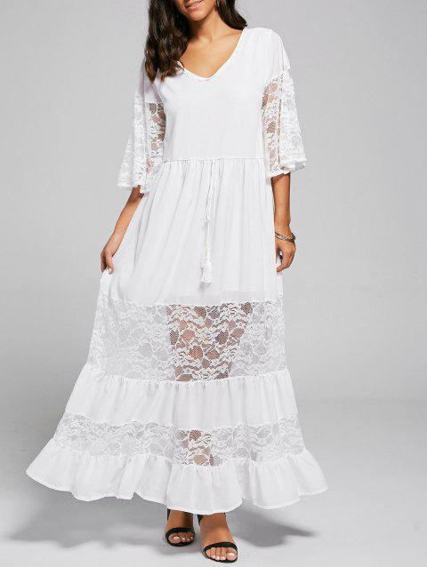 Lace Trim A Line Maxi Party Dress - WHITE L