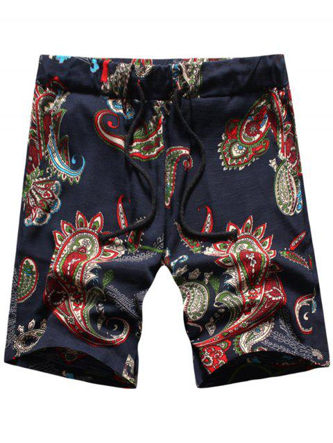 Drawstring Waist Paisley Print Shorts - PURPLISH BLUE XL