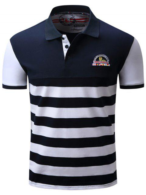 Color Block Panel Badge Embroidered Stripe T-shirt - BLUE/WHITE M