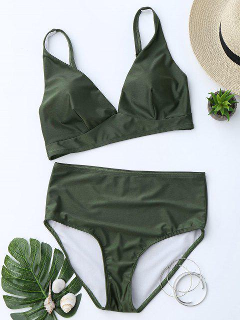 Low Cut High Waist Bikini Suit - BLACKISH GREEN S