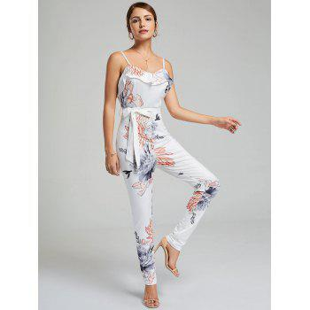 Ruffle Floral Belted Slip Jumpsuit - WHITE L