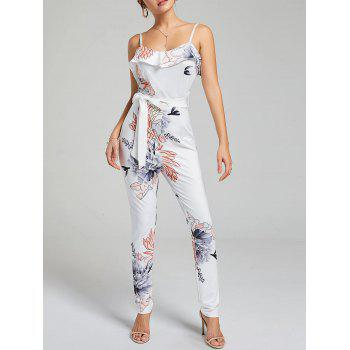 Ruffle Floral Belted Slip Jumpsuit