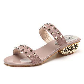 Rivets Suede Strange Style Slippers - PINK PINK