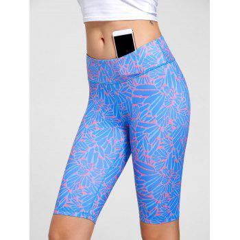 High Waist Funky Gym Leggings - BLUE BLUE