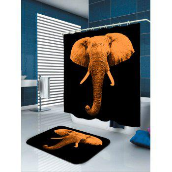 Vintage Elephant Waterproof Shower Curtain - BROWN BROWN