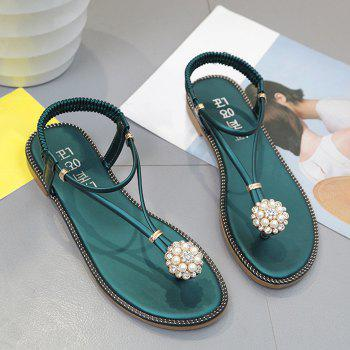 Beaded T-Strap Flat Thong Sandals