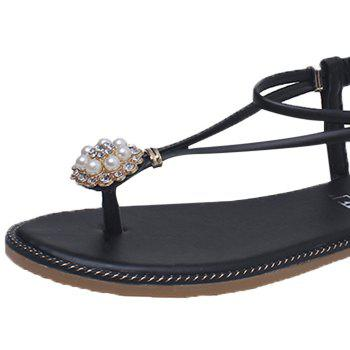 Beaded T-Strap Flat Thong Sandals - BLACK 39