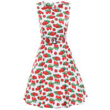 Strawberry Print A Line Vintage Dress
