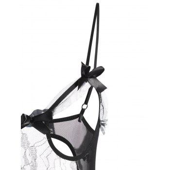 Mesh Sheer Lurex Lingerie Teddy - BLACK BLACK