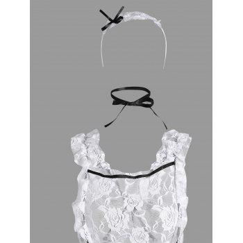 Lace Ruffles Housemaid Cosplay Costume - WHITE ONE SIZE