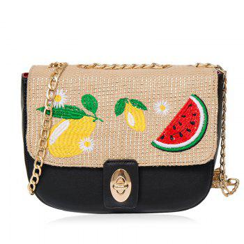 Fruit Embroidery Chain Crossbody Bag - BLACK BLACK