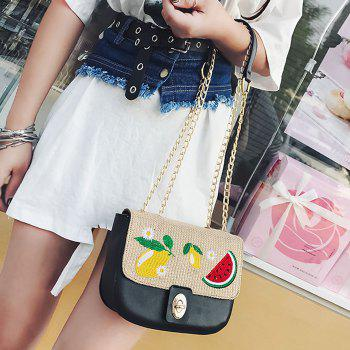 Fruit Embroidery Chain Crossbody Bag -  BLACK