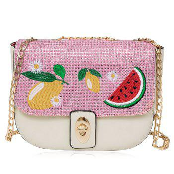 Fruit Embroidery Chain Crossbody Bag - WHITE WHITE