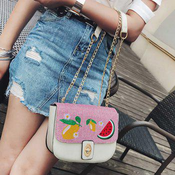 Fruit Embroidery Chain Crossbody Bag -  WHITE