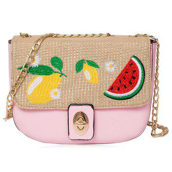 Fruit Embroidery Chain Crossbody Bag - PINK PINK