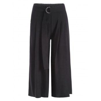 Belted Formal Capri Wide Leg Pants