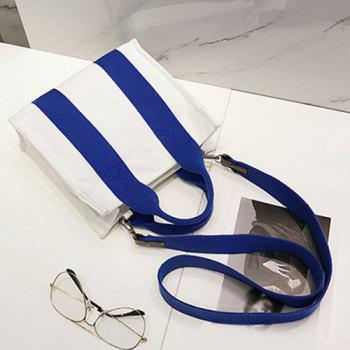 Canvas Stripe Tote Bag - BLUE