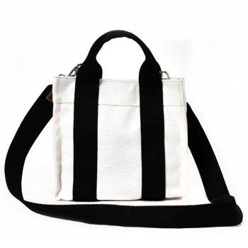 Canvas Stripe Tote Bag - BLACK BLACK