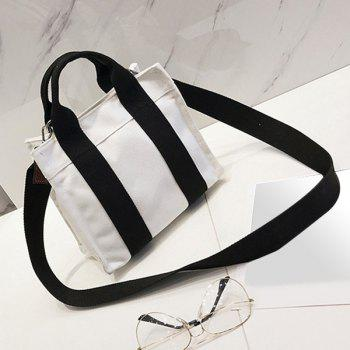 Canvas Stripe Tote Bag -  BLACK