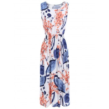 Sleeveless Floral Leaf Ink Print Casual Midi Dress