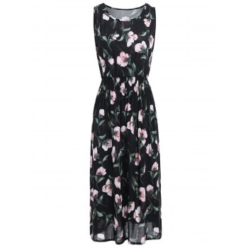 Sleeveless High Waist Midi Floral Leaf Dress