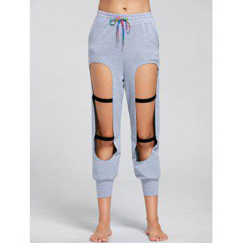 Drawstring Destroyed Sports Joggers - GRAY L
