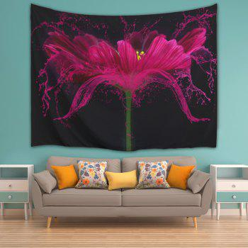 Flower Print Beach Throw Wall Hanging Tapestry - BLACK W59 INCH * L79 INCH