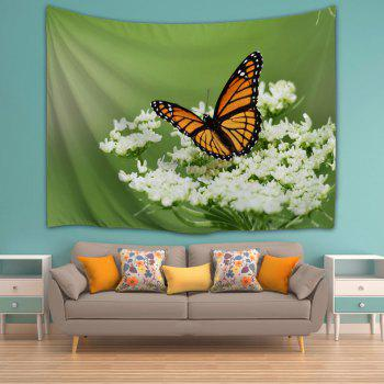 Butterfly Floral Wall Hanging Home Decor Tapestry - GREEN W51 INCH * L59 INCH