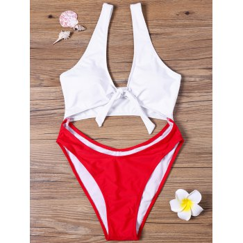 Two Tone Cut Out One-piece Swimwear