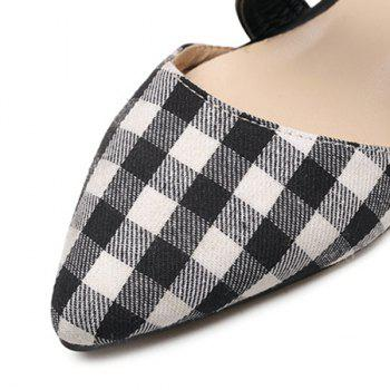 Bowknot Plaid Point Toe Flats - Blanc 40