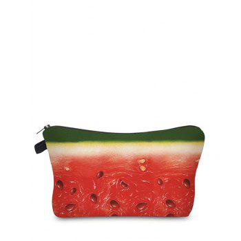 Fruit Print Clutch Makeup Bag - RED RED